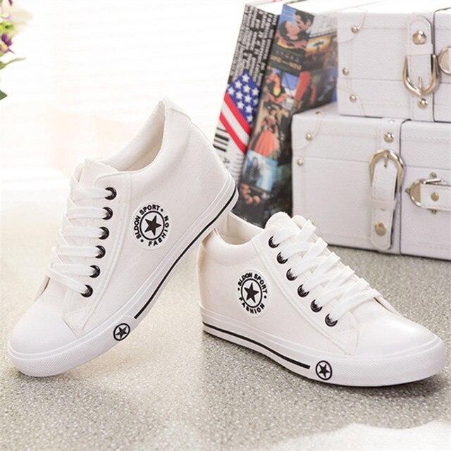 Летние Клинья Холст Обувь Женская Повседневная Обувь Женский Милый Белый Корзина Звезды Zapatos Mujer Тренеров 5 см Высота