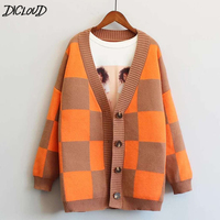DICLOUD Oversized Sweaters Women 2018 Winter Woolen Cardigan Ladies Korean Plus Size Coats Woman Plaid Knited Sweater Female