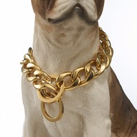 Gold Tone Stainless Steel Dog Collar19mm Wide12 32 Long Dog Necklace Training Collar Chain Puppy Dog Medium Large Dog Jewelry