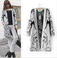 Long Section New Of Abstract pattern loose Bat Sleeve Knit Cardigan Jacket Women Sweater Women Tops w-026