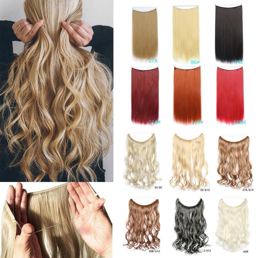 LISI HAIR 24 Inches Women Fish Line Hair Extensions Brown Blonde Natural Wavy Long High Tempreture Fiber Synthetic Hairpiece