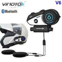 Versão inglesa capacete bluetooth headset, motocicleta vimoto v6 fone de ouvido estéreo multifuncional para celular e rádio gps
