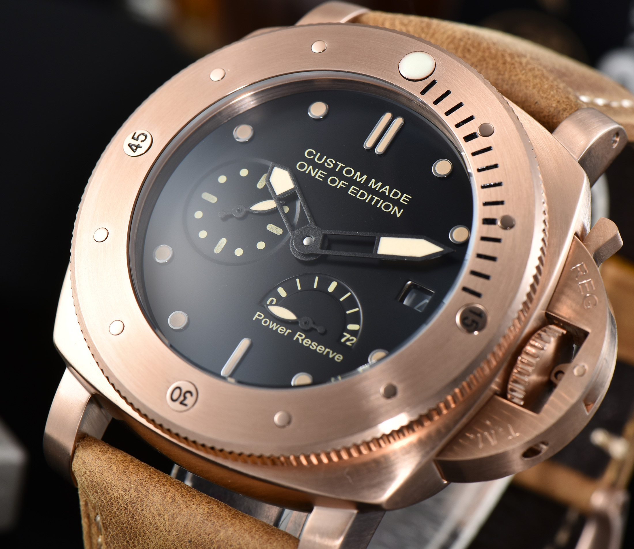 Limited edition 47mm retro gold pvd automatic watch military power reserve parnis 2530 pam leather strap