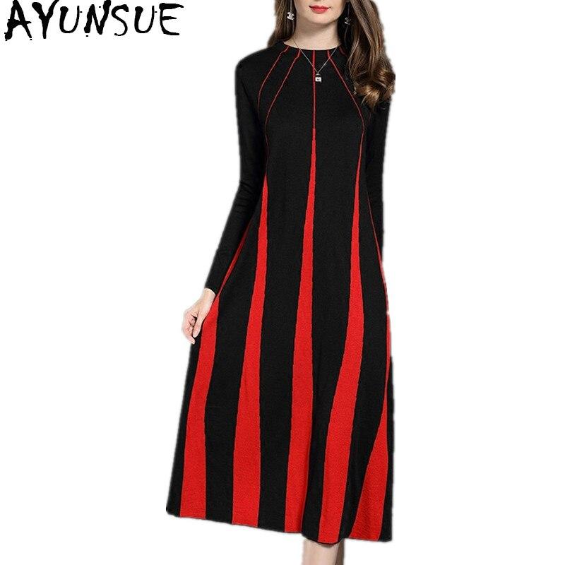 AYUNSUE 2018 модное шерстяное вязаное платье Женский Повседневное длинные платья для Для женщин Платья свитеры осень зима платье vestidos WYQ1048