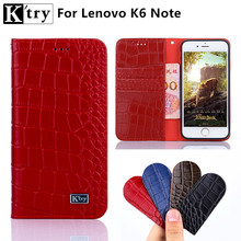 K'try For Lenovo K6 Note Phone Case High Quality Genuine Leather with Soft Silicone Cover For Lenovo K6 Note 5.5inch Wallet Case