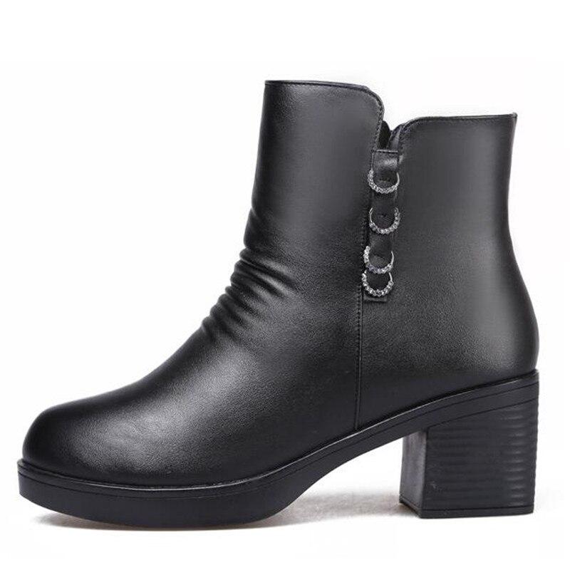 Chaussures Hiver Fourrure Une Neige En Zxryxgs Hauts Laine De Bottes Marque 2018 Avec Femme Vachette Noir Épais Cuir À Talons yfYvIb76g