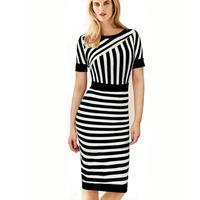 Fashion Two color block splicing dress Elegant Noble O-neck Career Contrast Stripe Zipper Back Formal Pencil Dresses Women Dress