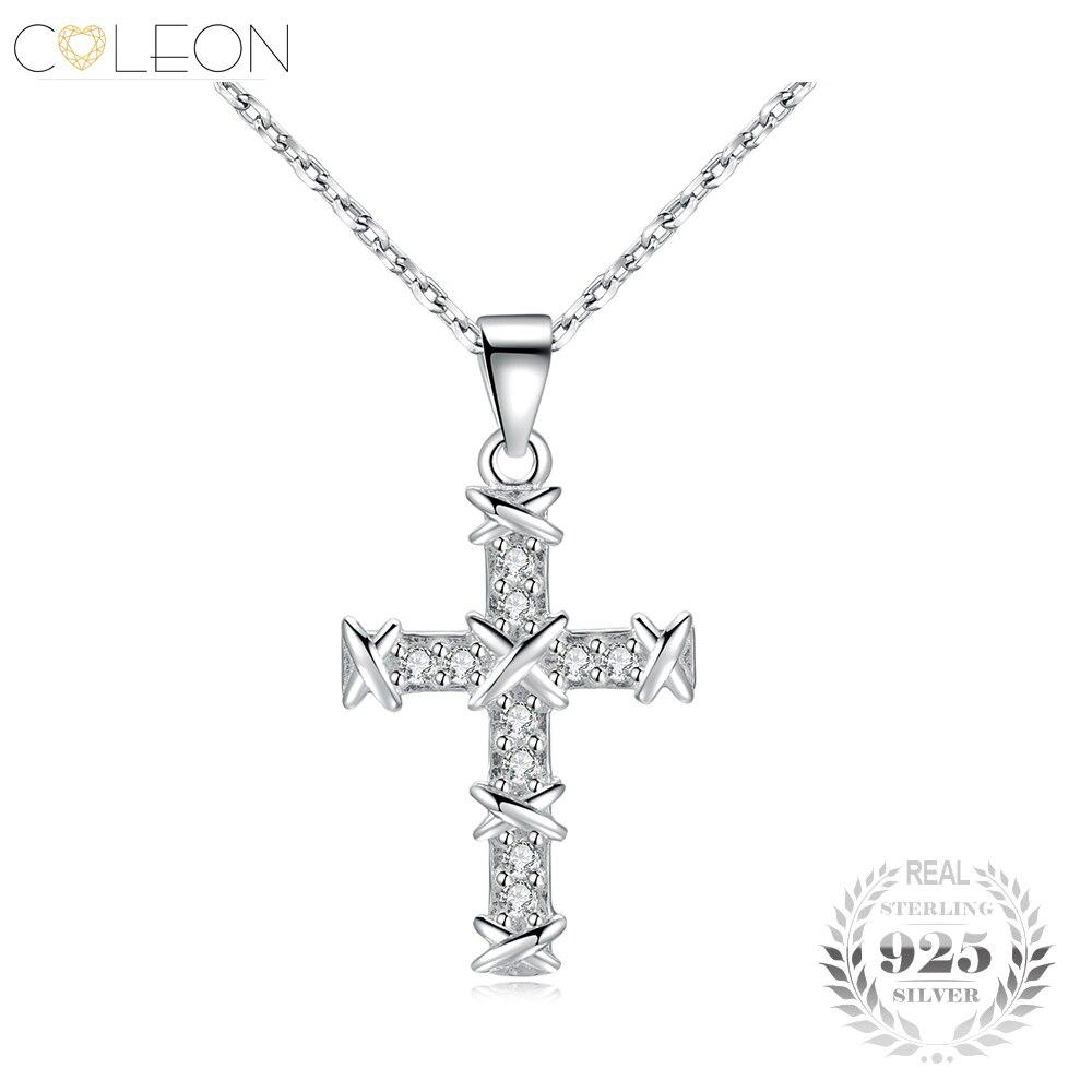 Coleon 100 925 Silver Gem Cross Pendant font b Necklace b font Fashion Sterling Silver font