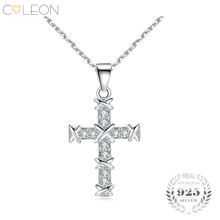 Coleon 100% 925 Silver Gem Cross Pendant Necklace Fashion Sterling Silver Necklaces Fine Jewelry for Women as Wedding Party