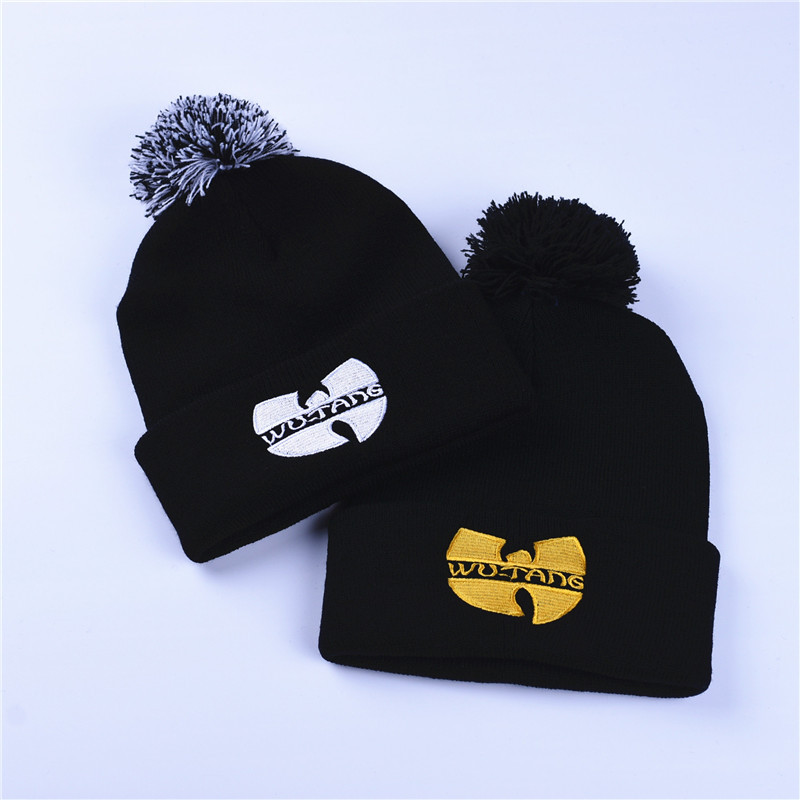 Fashion Winter Wutang Letter WU TANG CLAN Musice Beanie Skullies Knitted  Women Wu Tang Hat HipHop Winter Warm pompom Hats Caps-in Skullies   Beanies  from ... 350825cf3bf