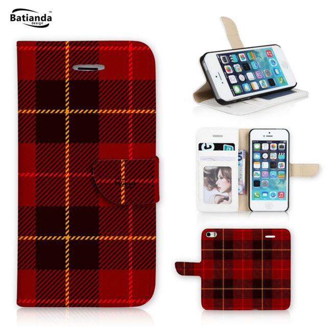 "Para A Apple iPhone 7 4.7 ""caso clássico tartan padrão wallet virar capa para iphone 7 plus pu leather case capa do telefone + filme"