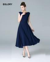 High Quality Brand Office Dress Women O Neck Solid Color Large Swing Mid Calf Length Dark
