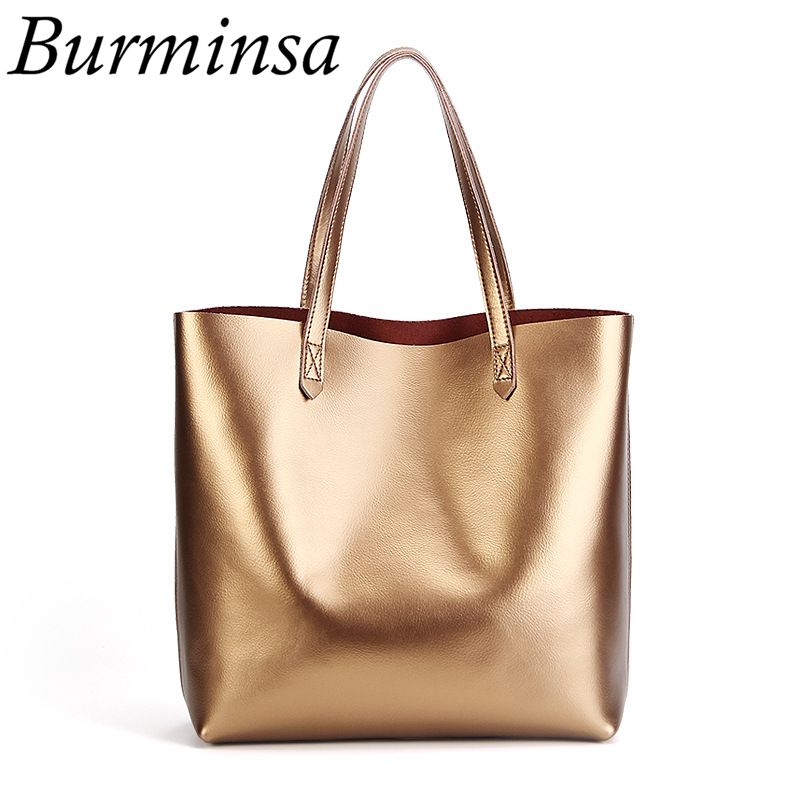 Burminsa Brand Women Genuine Leather Bags Large Shopping Bags Office Ladies Designer Handbags High Quality Tote Shoulder Bags luxury togo genuine leather bags famous brand designer handbags high quality office ladies tote shoulder bags for women 25 30