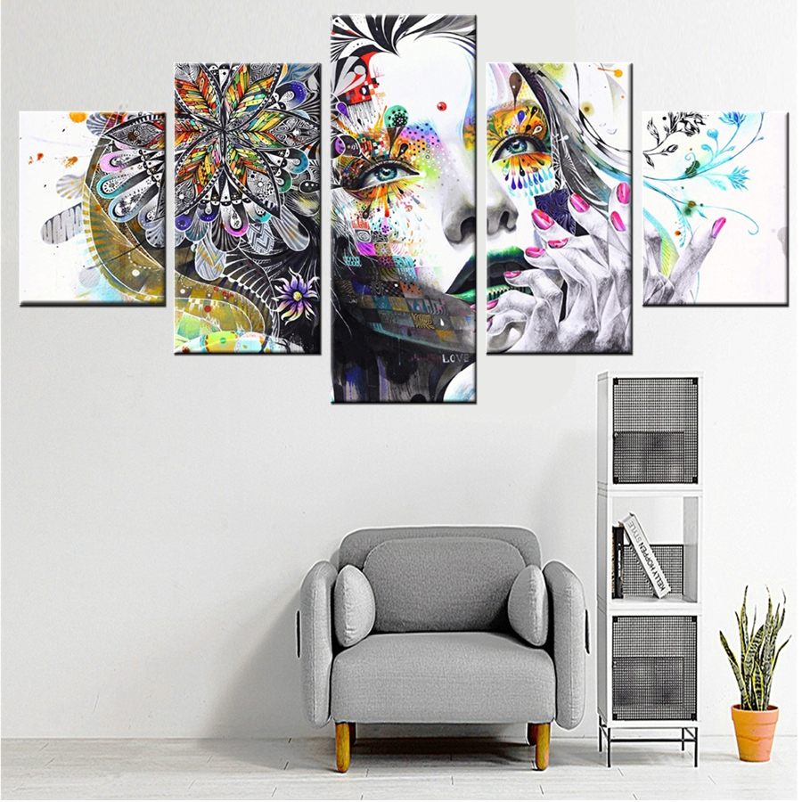 Graffiti art sale - Best Sale Tatto Flower Girl Pretty Graffiti Canvas Painting Color Fashion Gift Wall Art For Home Decor High Quality Wholesale