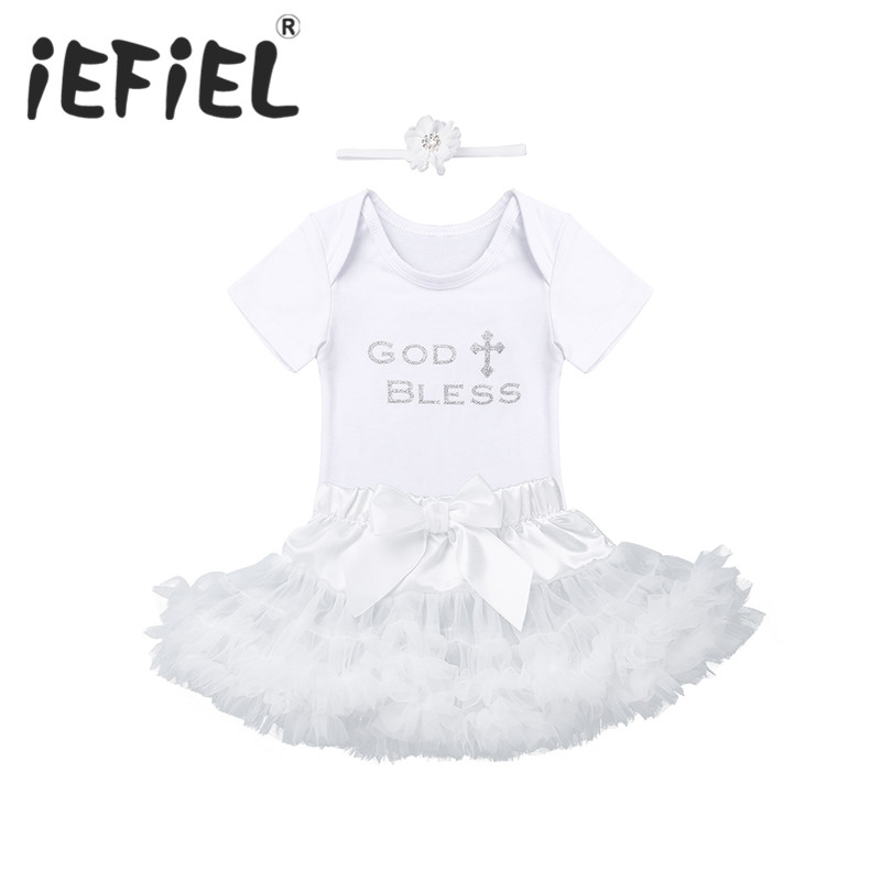 Girls' Baby Clothing Baby Girls Christening Outfits Baptism Clothes Newborn Kids Girls Glittery Letters God Bless Printed Romper With Tutu Skirt