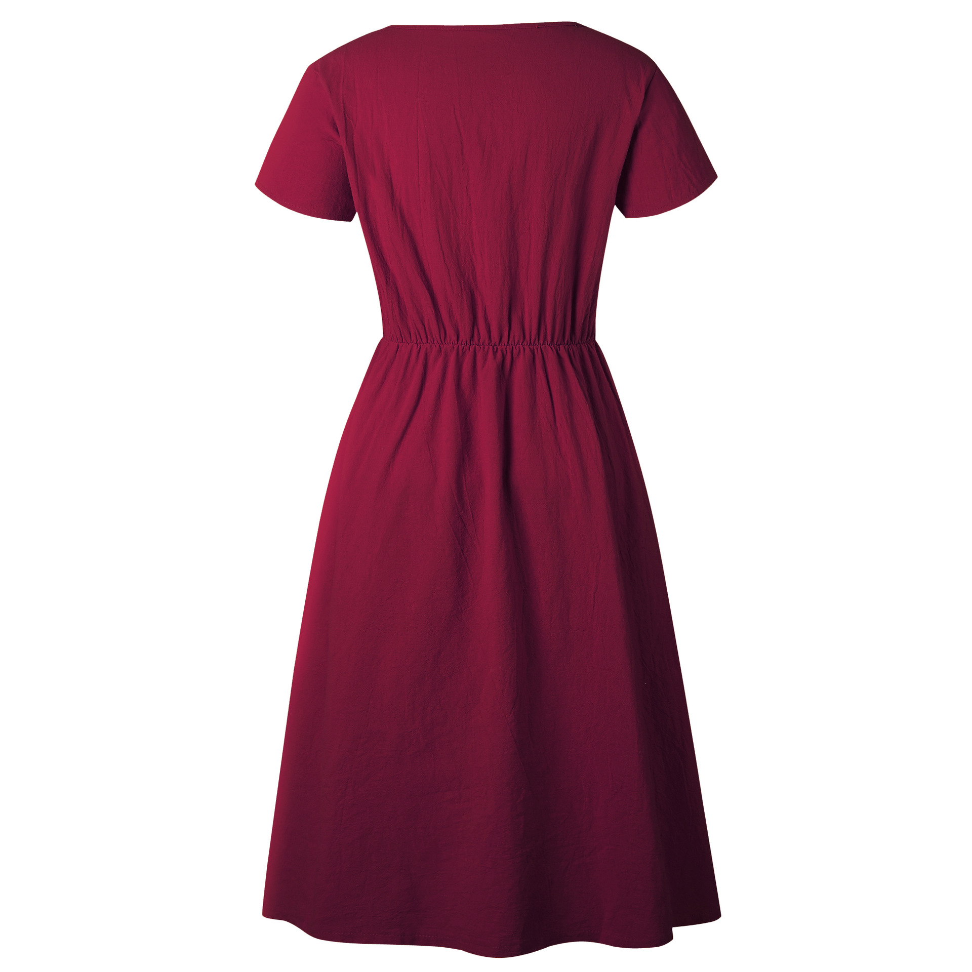 Red Blue A Line Casual Dresses Women Autumn Dress 19 Vintage Long Sleeve Dress For Ladies Buttons V Neck Midi Vestidos Female 92
