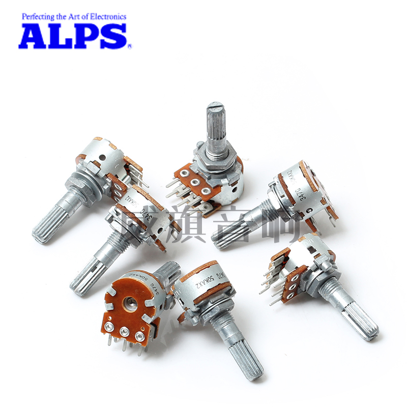 5PCS Japan ALPS 16-Type Volume Potentiometer 100KAX2 or 50KAX2 For DIY HiFi Audio [vicko] japan alps 27 type rh2702 50kax2 50k 50ka a50k 8pin with loudness potentiometer switch