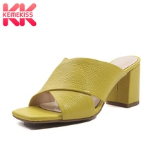 Купить с кэшбэком KemeKiss Women'S Sandals Real Leather Slippers New Summer Shoes Women High Quality Comfort Casual High Heel Sandals Size 33-43