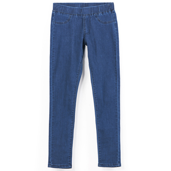 LEIJIJEANS 2019 Spring And Summer Plus Size Mid Elastic Waist Stretch Ankle length mom Jeans for Women Skinny Pants Capris Jeans 8
