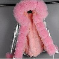 Новинка 2019, Зимняя мода, Женский Настоящий мех кролика мини парка, роскошное пальто с капюшоном из монгольского кроличьего меха, верхняя оде