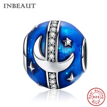 INBEAUT Designer 925 Sterling Silver Moon Star Charm fit Trendy Bracelet Blue Universal Galaxy Beads for Women Pendant Necklace