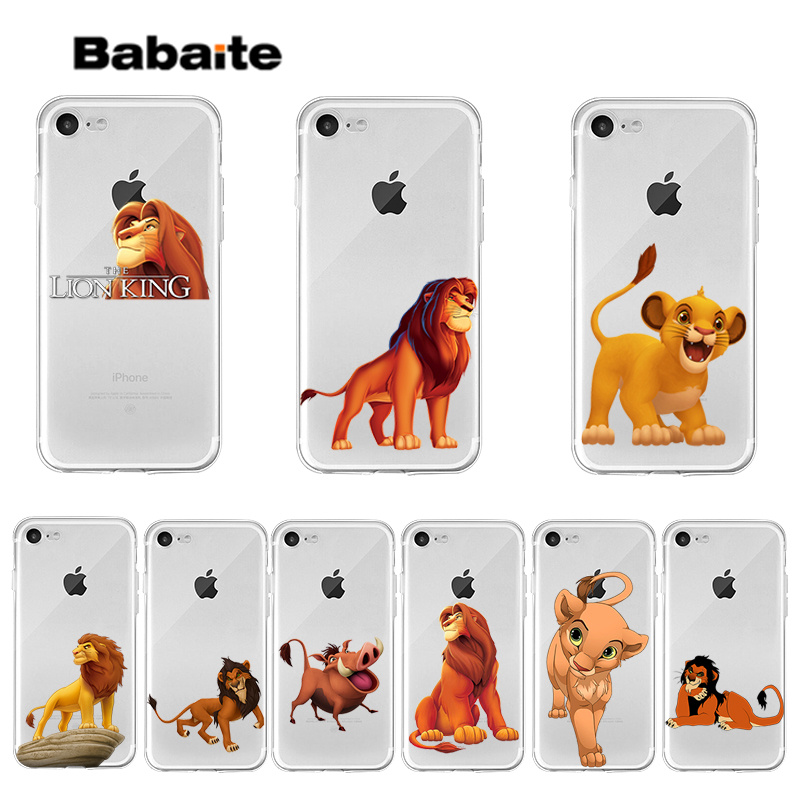 Babaite The Lion King Transparent TPU Soft Silicone Phone Case Cover for iPhone 7 7plus X XS MAX 6 6S 8 8Plus 5 5S XR in Half wrapped Cases from Cellphones Telecommunications