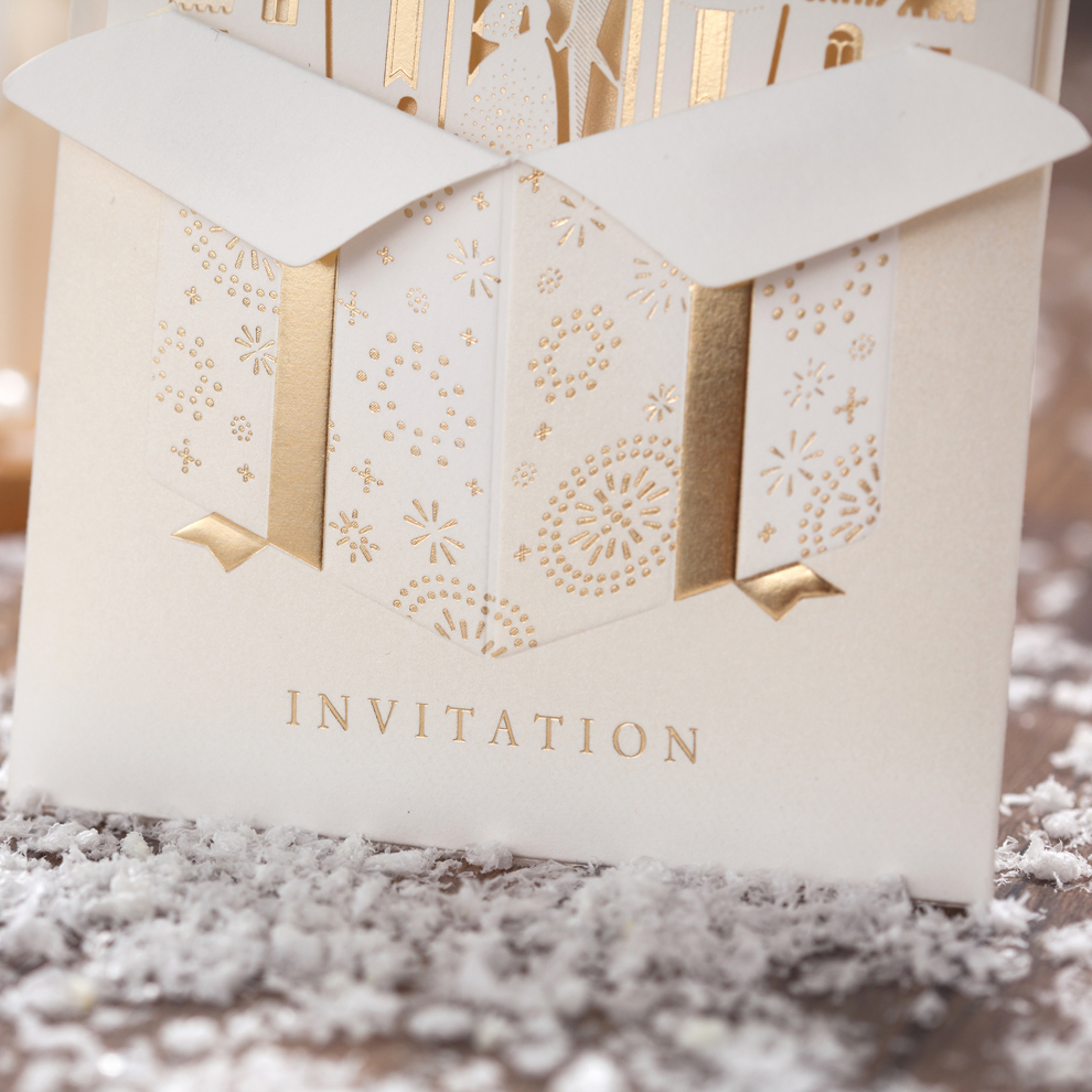 2017 New Creative Golden Princess Wedding Invitations Card Free Text Printing Pocket Style Favors And Gifts In Festive Party Supplies From