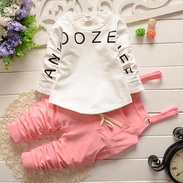 2016 New Infant Outfits Long Sleeve Cotton Sweatshirt Letter Print+ Overalls Pants Fashionable Baby Girl Clothing Set