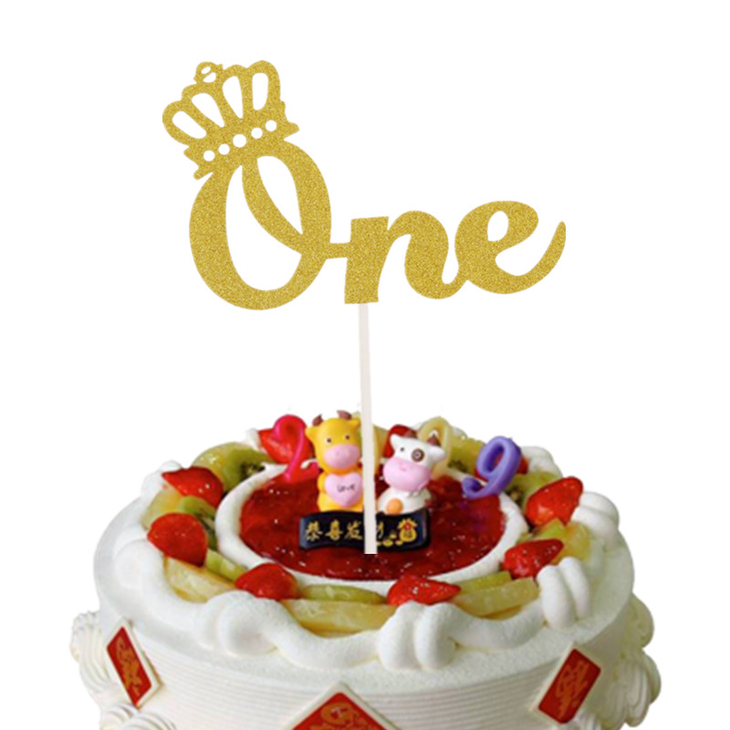 Lovely Crown One Cake Toppers Happy Birthday Cake Flag Baby Shower Birthday Anniversary Party Cake Decor Gold Silver