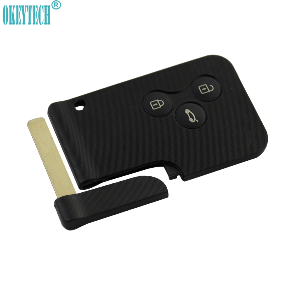 OkeyTech for Renault Smart Key Replacement 3 Button Remote Car Key Fob for Renault Megane Scenic Smart Card With Insert Blade brand new high quality remote key renault megane smart card 3 button 2 small car key smart card for renault key shell megane