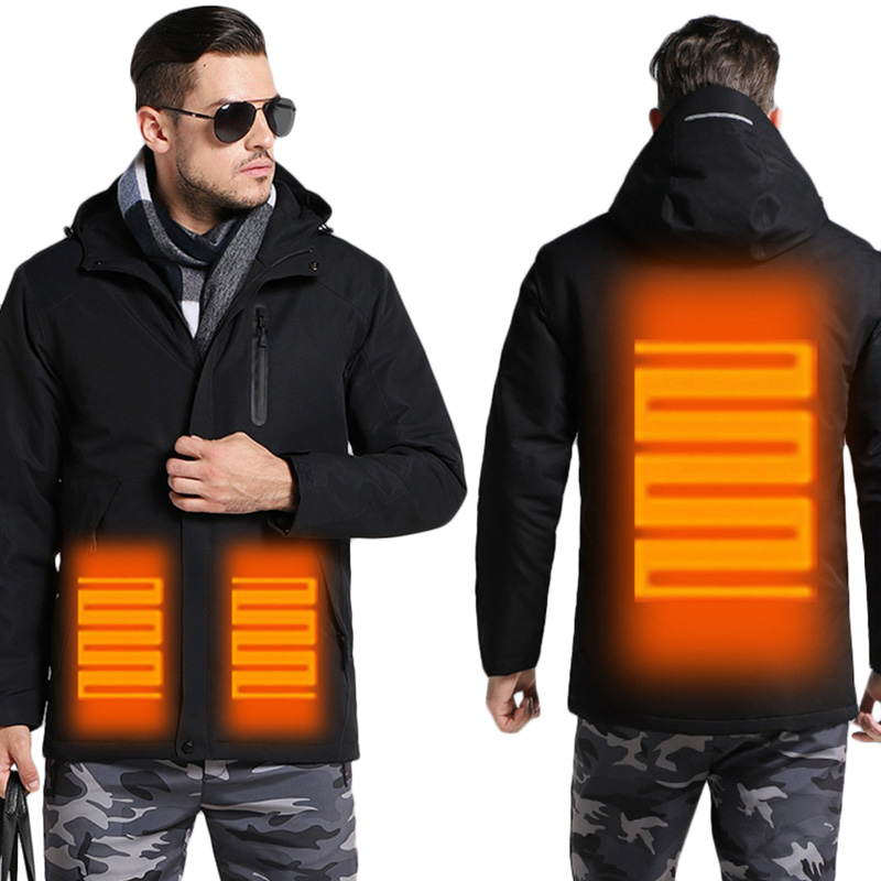92c99efccd0 Men s Winter USB Heating Jacket Men Waterproof Reflective Hooded Coat Male  Warm Parka Cotton Windbreaker Mens Rain Jackets AM354-in Parkas from Men s  ...