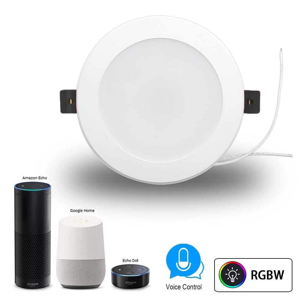 Smart WiFi 4 pouces Downlight 10W RGBW commande vocale prise en charge Alexa et Google Home IFTTT lumière LED domestique intelligente minuterie interrupteur