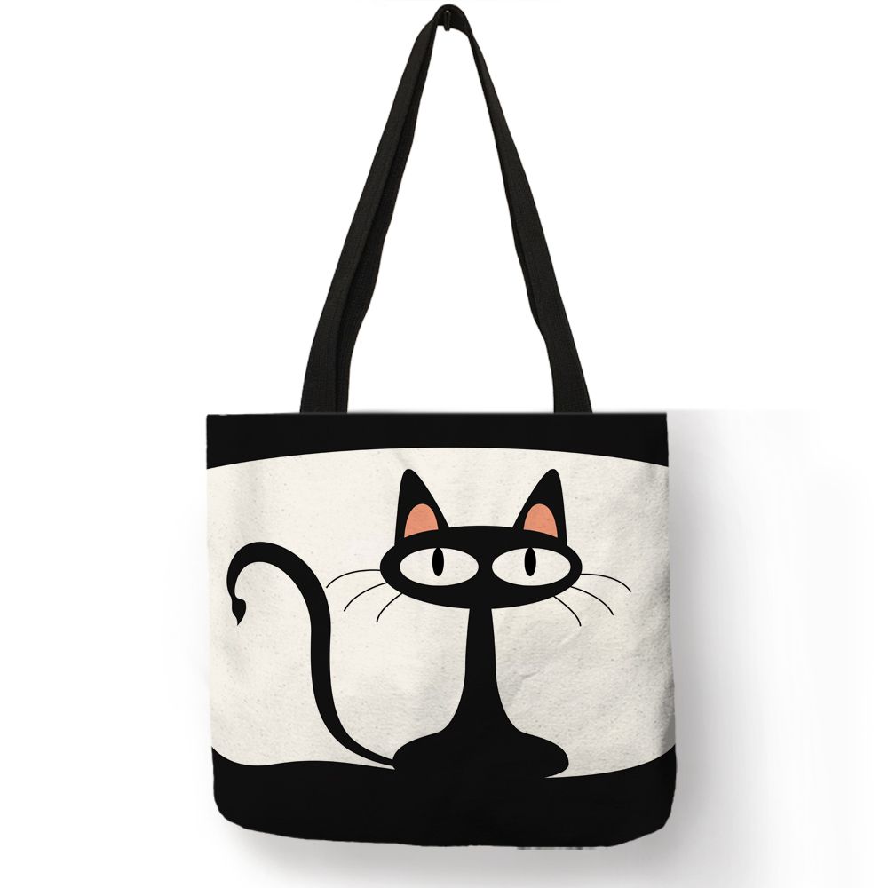 Cartoon Animal Cat Print Tote Bag For Women Folding Reusable Shopping Bags Linen Handbags Pouch