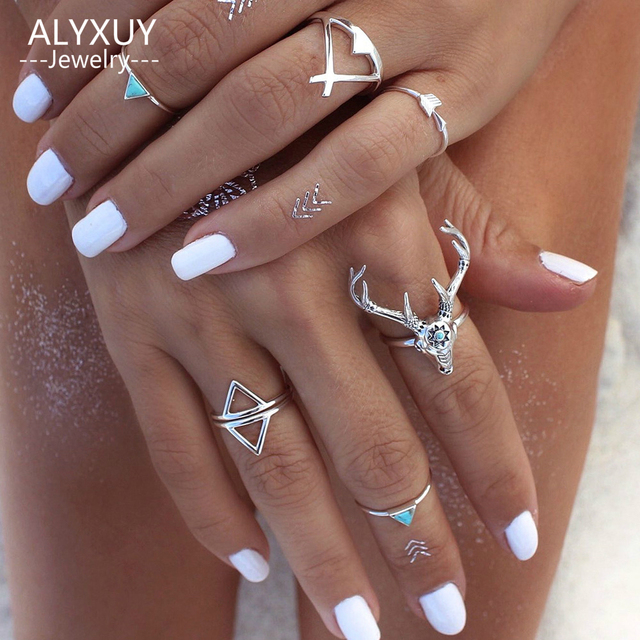 New fashion accessorie vintage silver color elk deer arrow finger ring set 1lot=