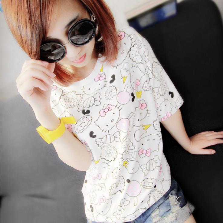 113f4c0cf 2016 Women's Summer Girl T Shirt Fashion Lovely Cartoon hello kitty Pencil  Tin Slim Short sleeve Bottoming Top Quality Tees -in T-Shirts from Women's  ...