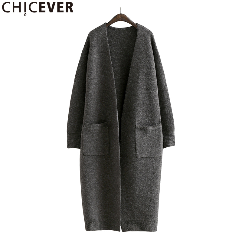 CHICEVER Knitting Female Cardigan Women s Winter Sweaters Long Sleeve Loose Big Size Sweater Jumper Clothes