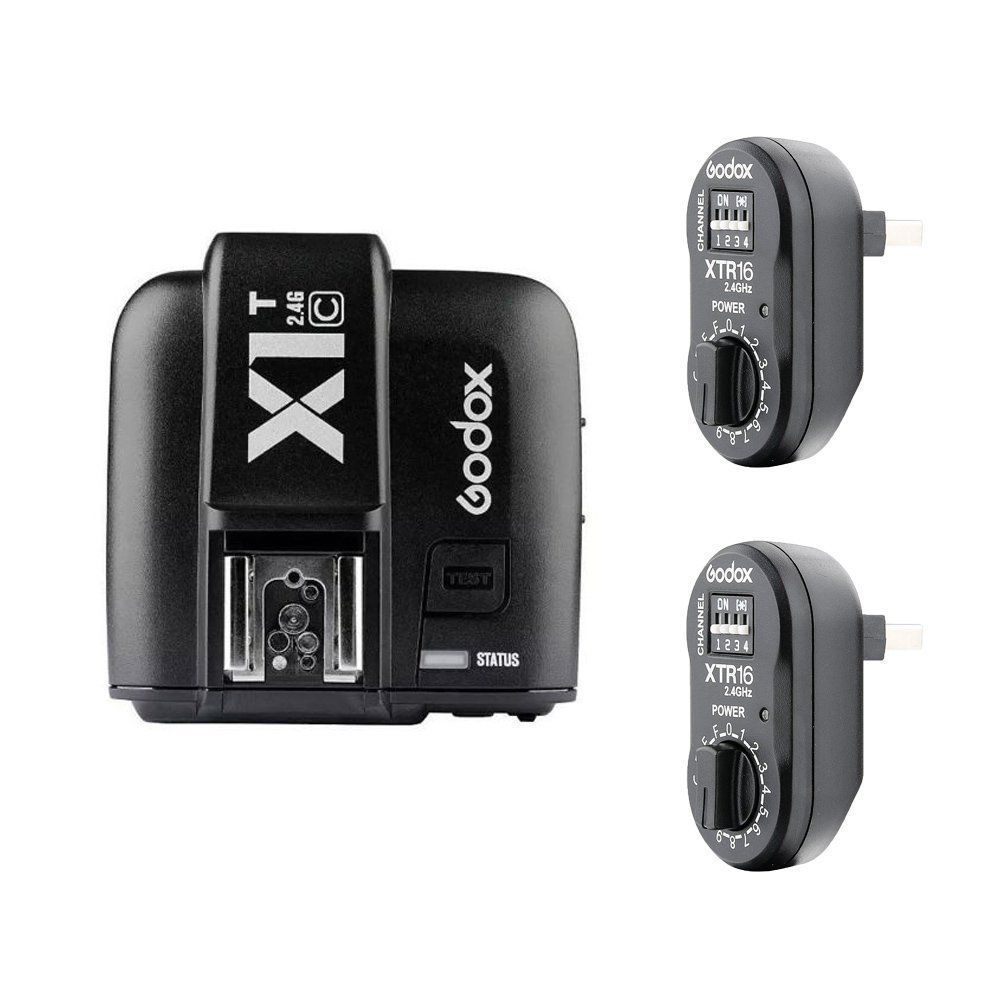 Godox X1T-C 2.4G Wireless Flash Transmitter+2x XTR-16 Flash Receivers For Canon/GODOX AD360II AD180 /DE/QT II/DP/QS/GS/GT SeriesGodox X1T-C 2.4G Wireless Flash Transmitter+2x XTR-16 Flash Receivers For Canon/GODOX AD360II AD180 /DE/QT II/DP/QS/GS/GT Series