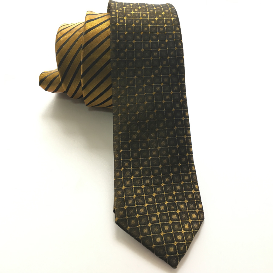 Designer's Skinny Tie Gentlemen Unique Panel Slips Golden with Black - Klær tilbehør
