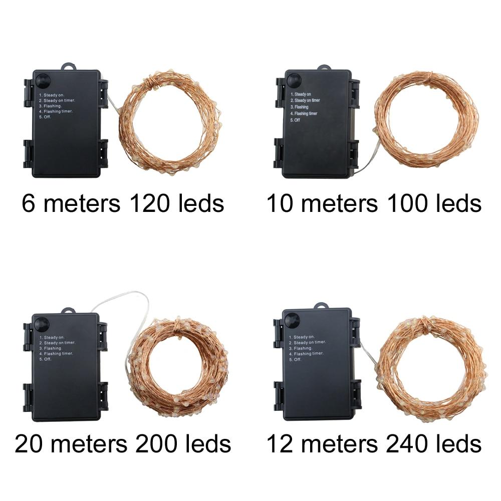 6m / 10m / 12m / 20m 5Modes 6AA Batteri Använd LED Stränglampor - Festlig belysning - Foto 4