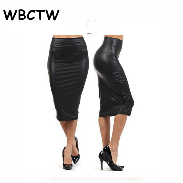 b51a0a3e5ce WBCTW 9XL 10XL Plus Size Skirts Solid High Waist Knee Length Faux Leather Summer  Skirts Sexy Midi Women Office Bodycon Skirt