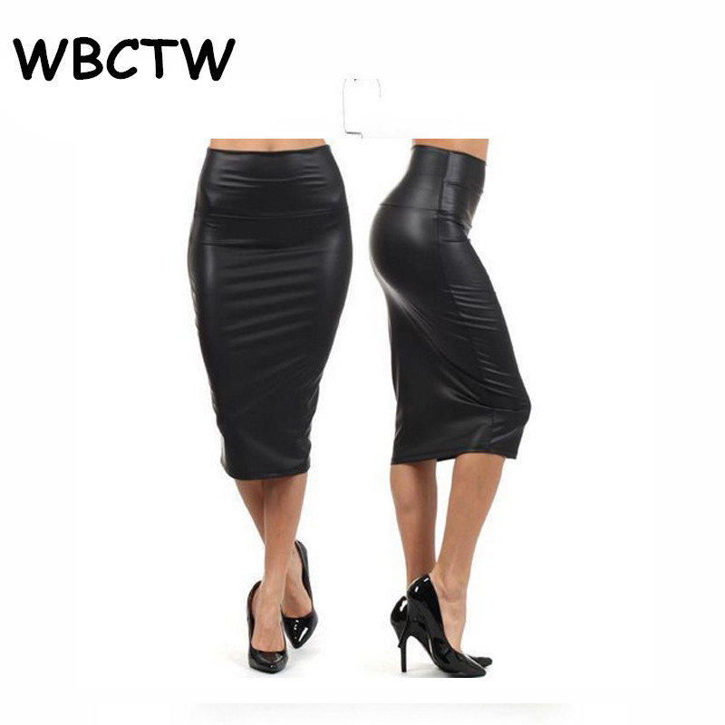 WBCTW 9XL 10XL Plus Size Skirts Solid High Waist Knee Length Faux Leather Summer Skirts Sexy Midi Women Office Bodycon Skirt