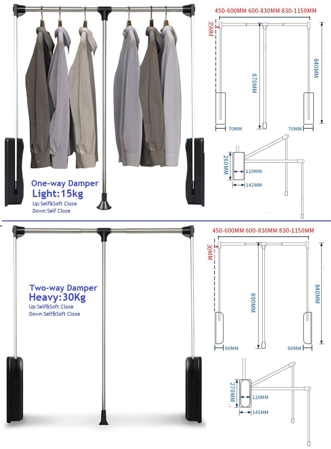 One Way Two Way Damper Heavy Duty  Adjustable Pull-Down Wardrobe Closet Rod Hanging Expanding Wardrobe Lift