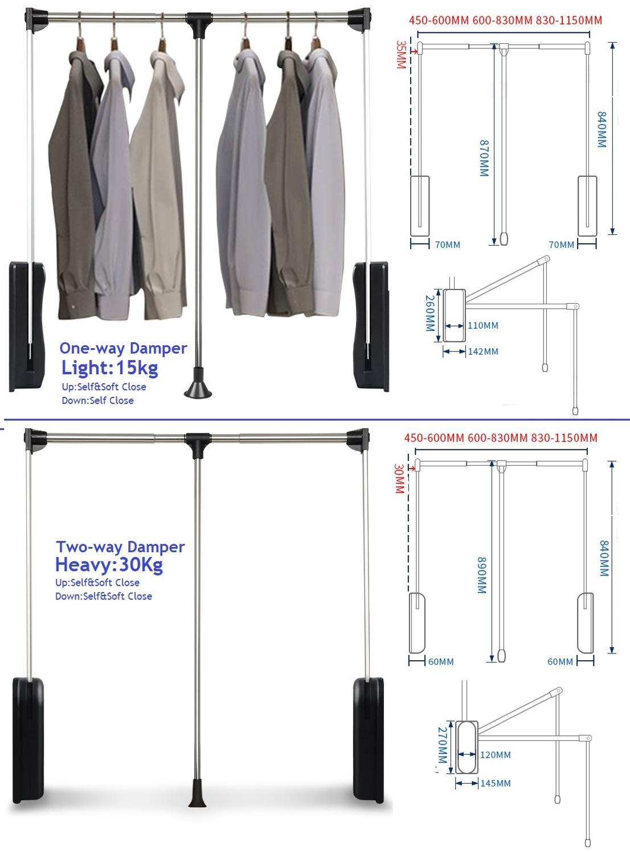 One Way Two Way Damper Heavy Duty Adjustable Pull Down Wardrobe