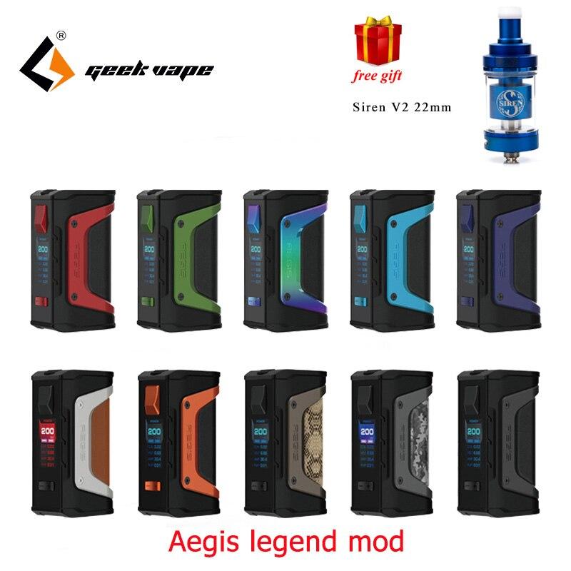 Grande vendita GeekVape Aegis aegis Leggenda mod 200 w TC Box MOD Alimentato da Dual 18650 batterie per zeus rta blitzen faraone mini rta
