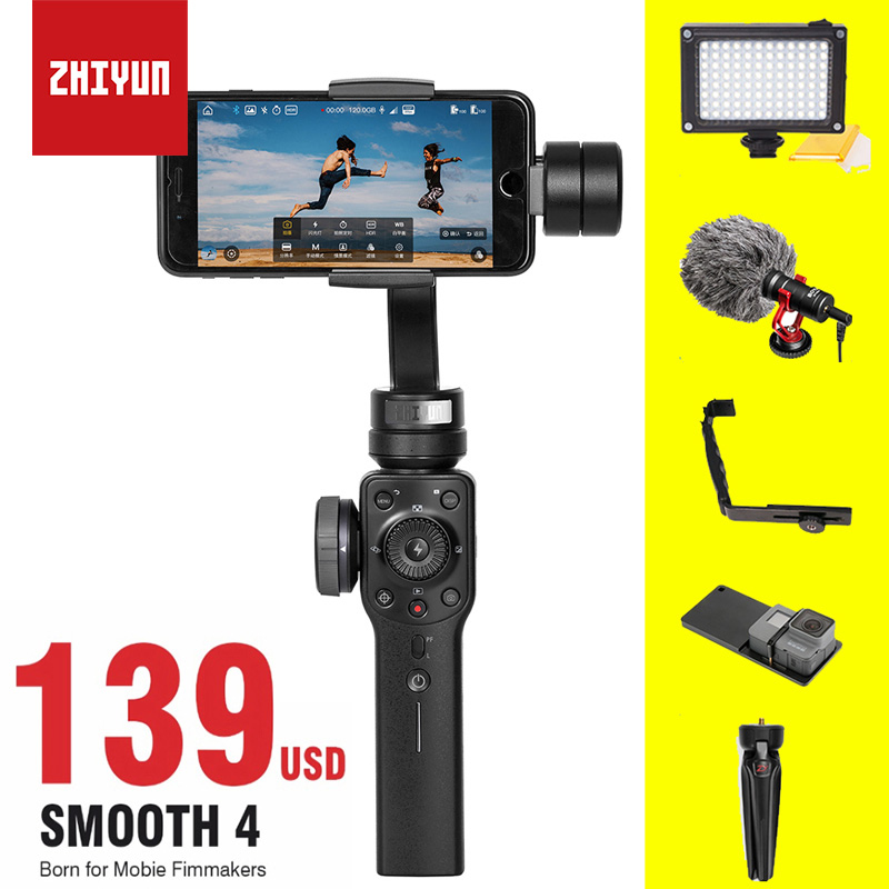 ZHIYUN zhi yun Smooth 4 Smartphone Handheld Stabilizer Tripod 3-Axis Portable For iPhone X 8 7 6 Plus (In Stock)