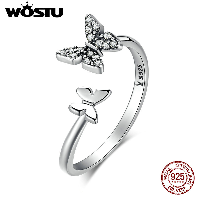 WOSTU Hot Sale 100% 925 Sterling Silver Dancing Butterflies Elegant Rings For Women Fashion S925 Jewelry Gift CQR087