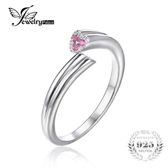 Jewelrypalace 925 de plata de ley 2 del corazón del amor creado zafiro rosa anillo apilable wrap 2016 moda anillos ajustables para las mujeres