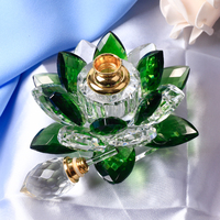 1 pcs Crystal Lotus Flower Figurines Perfume Bottle Miniatures Glass Flower Feng Shui for Home Decor Presents Ornament Gift