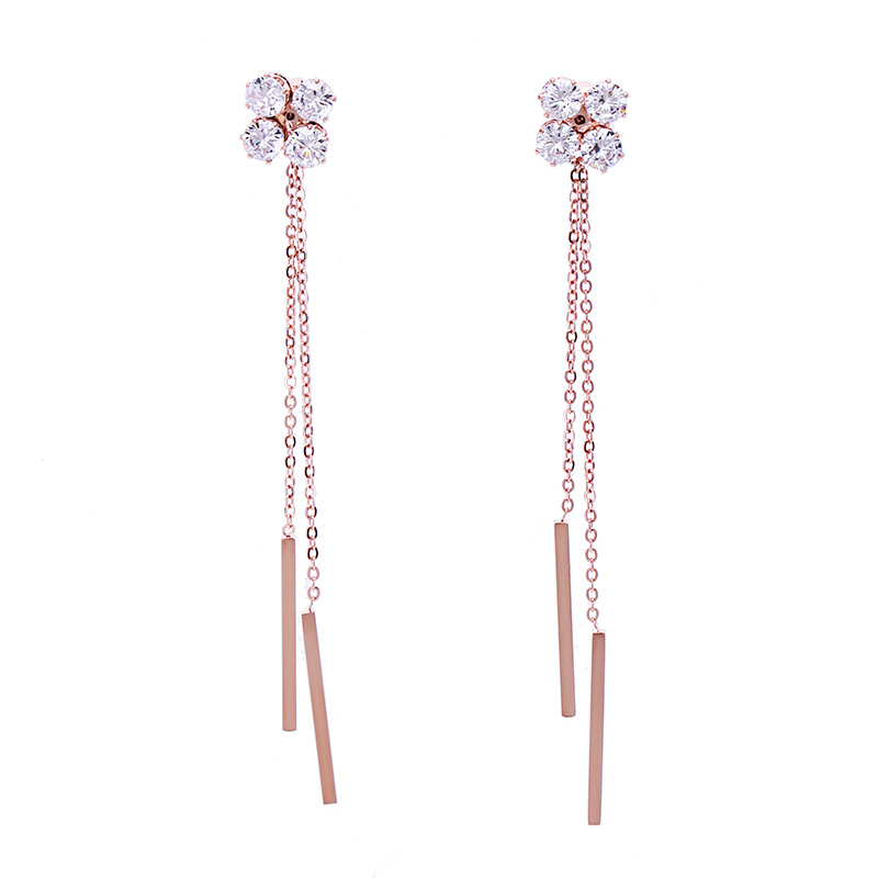 Fashion Bohemian Crystal Tassel Earrings Rose Gold Long Drop Dangle Stainless Steel Earrings For Women Jewelry D'oreille Brincos