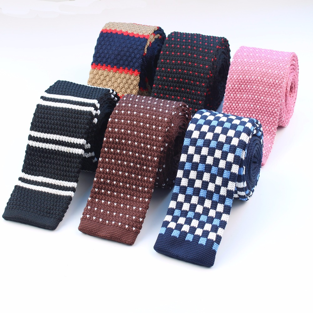 Mens Casual Knit Tie Skinny Knitted Necktie Narrow Slim Dot Gravatas Classical Ties Knitting Tape Yarn Designers